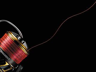 スピニングリールから糸が出ている