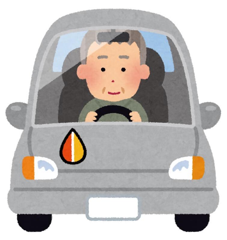 高齢者が車の運転中