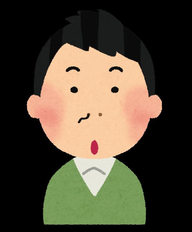 鼻毛が片方の鼻から出ている男性